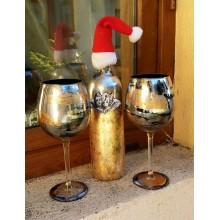 Set sticla de vin cu doua pahare